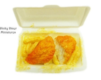 Fish and Chips (Halved) - Miniature 1:12 Scale Food