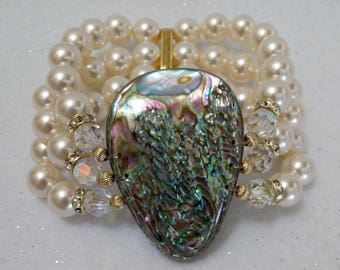 ABALONE Opal of the Sea STRETCH BRACELET with Pearls and Crystals