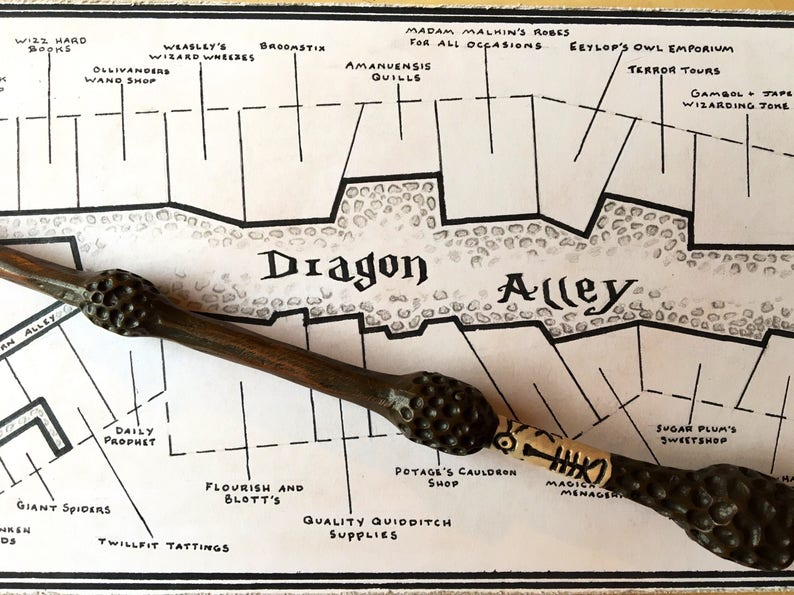Diagon Alley Harry Potter Book Accurate Hand Drawn Map | Etsy on