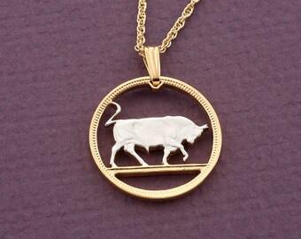 Arthwick Store Taurus Bull Zodiac Illustration with Stars Pendant Necklace