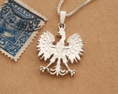 Silver Polish Eagle Pendant and Necklace, Hand cut Poland 10 Zlotch coin pendant, Silver Polish Eagle Jewelry, 1 quot in diameter, ( 256S )
