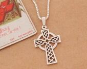 Sterling Silver Celtic Cross Pendant, Celtic Cross Jewelry, Sterling Silver Irish Jewelry, 1 quot long, ( 819S )