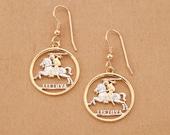 Lithuanian Coin earrings, Hand cut Lithuanian one centu coins, Lithuanian Jewelry, 3 4 quot in diameter , ( 227E )