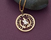 Guatemala Coin Pendant and Necklace, Guatemala 25 Centavos Coin Hand Cut, 14 Karat Gold and Rhodium Plated, 1 1 8 quot in Diameter, ( 864 )