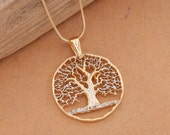 Tree of Life Pendant and Necklace, Hand cut Tree Of Life Medallion, 14 Karat Gold and Rhodium Plated ( 874 )