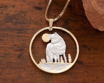 Wolf pendant etsy timber wolf pendant and necklace canadian five dollar wolf coin hand cut 14 karat gold and rhodium plated 1 18 in diameter 925 aloadofball Choice Image