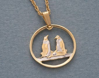 Penguin pendant etsy penguin pendant and necklace falkland island penguin coin hand cut 14karat gold and rhodium plated 58 in diameter 99 aloadofball Images