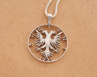 Albanian necklace etsy albanian eagle pendant and necklace hand cut albanian coin 1 in diameter 1s aloadofball Gallery