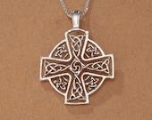Sterling Silver Celtic Cross Pendant, Hand Cut Sterling Silver Celtic Cross Medallion, Celtic Jewelry, 1 1 8 quot in Diameter, ( 905S )