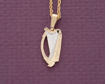 Harp pendant etsy irish harp pendant and necklace ireland coin hand cut 14 karat gold and rhodium plated 34 in diameter 171b aloadofball Gallery