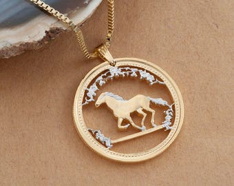 Gold horse pendant etsy horse pendant and necklace australian year of the horse coin hand cut 14 karat gold and rhodium plated 1 14 in diameter 742 aloadofball Images