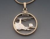 Maine State Quarter Pendant, Hand Cut United States Maine State Quarter, 14 Karat Gold and Rhodium Plated, 1 quot in Diameter, ( 2023 )