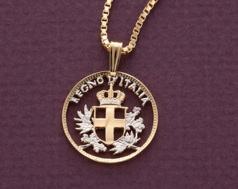 "Italy Royal Seal W//Wheat Coin Pendant Necklace.Hand cut 7//8/"" diameter # 201"