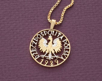 "Polish Eagle Pendant and Necklace, Poland One Zloty coin hand cut, 14 Karat Gold and Rhodium plated, 7/8"" in Diameter, ( # 257 )"