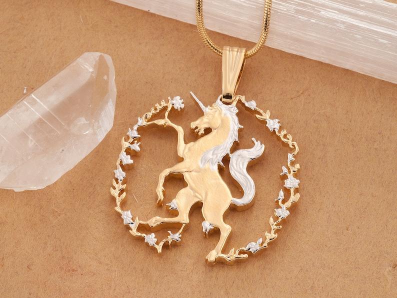 1 14 in diameter Unicorn Necklace Hand cut coin Sierra Leone Africa coin # 606B