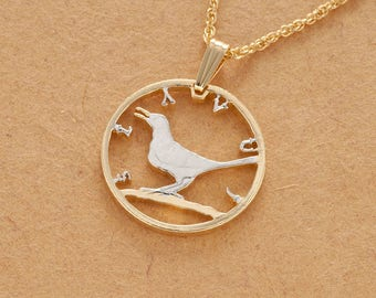 "Croatia Nightingale Coin Pendant and Necklace, Croatia Coin Hand Cut, 14 Karat Gold and Rhodium Plated, 1"" in Diameter, ( # 865 )"