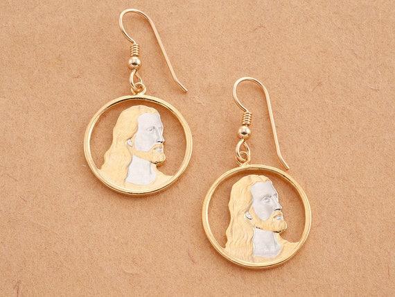 3//4 in diameter, # 635E Religious Earrings Guardian Angel Earrings