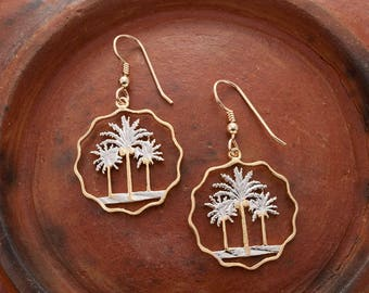 "Palm Tree Earrings, Iraq 10 Fils Palm Tree Coins Hand Cut,14 Karat Gold and Rhodium plated,14 K Gold Filled Wires 1"" in Diameter, ( # 433E )"