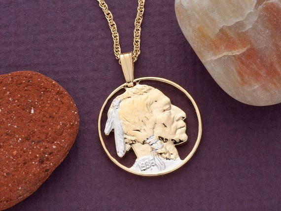 """7//8/"""" Indian Chief Pendant /& Necklace Hand Cut Indian Medallion # 682B"""
