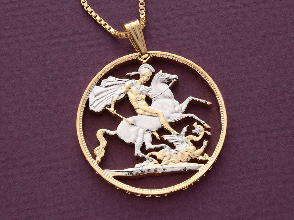 Great britain st george pendant and necklace british crown etsy zoom aloadofball Image collections