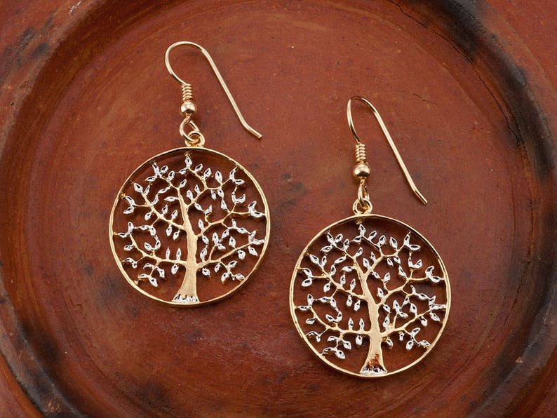 Tree Of Life EarringsHand Cut Tree Of Life earringsplated image 0