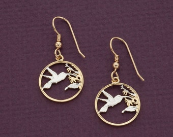 "Hummingbird Earrings, Trinidad 1 cent Hummingbird Coin Hand Cut, 14 Karat Gold and Rhodium plated,14K G/F Wires 5/8"" in Diameter, ( # 298E )"