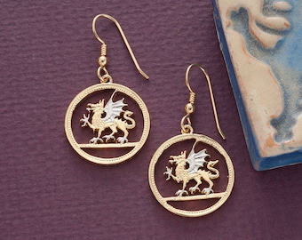"Welsh Dragon Coin Earrings, Wales One OUnd Coin Hand Cut, 14 Karat Gold and Rhodium plated, 14 K G/F Wires, 7/8"" in Diameter, ( # 483E )"
