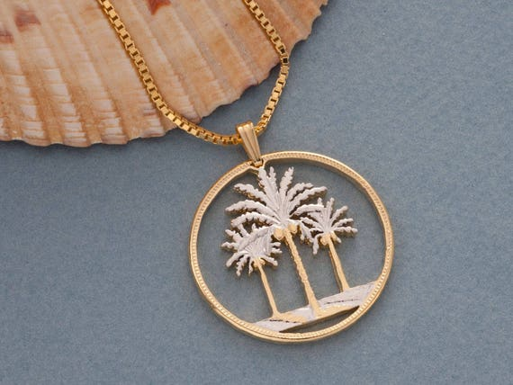 Tropical Pendant Coin Pendant 2pcs  IA0191-MR Matte Rhodium Plated over Brass Palm Tree Pendant Palm Tree Charm Coin Charm