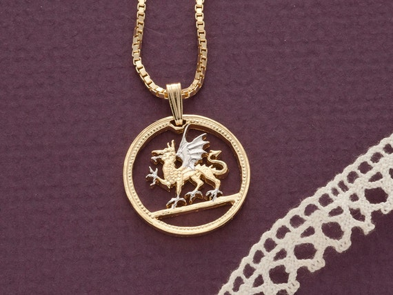 welsh dragon pendant and necklace wales one pound coin hand etsy