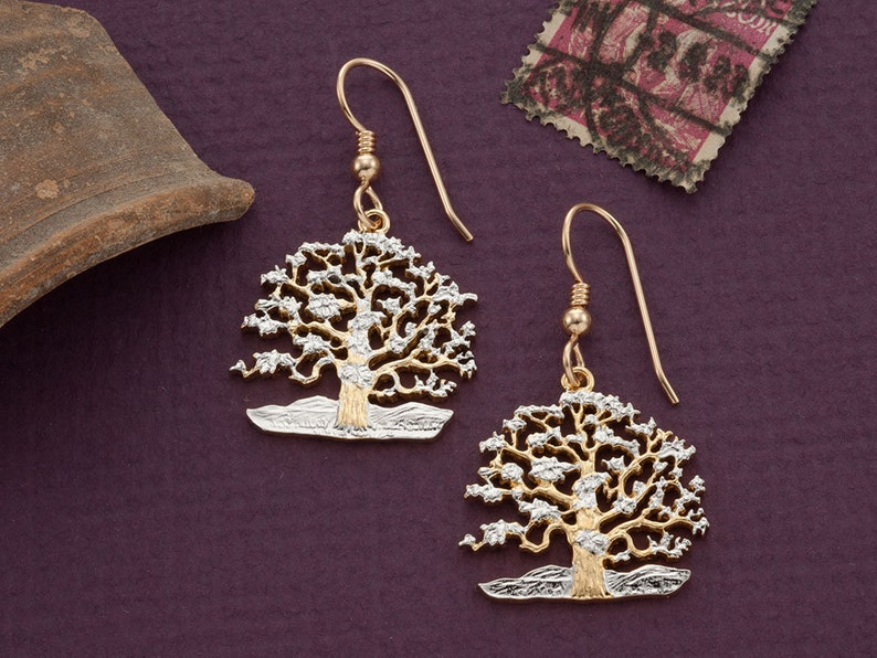 Tree Of Life Earrings South Pacific Island of Niue Coin Hand image 0