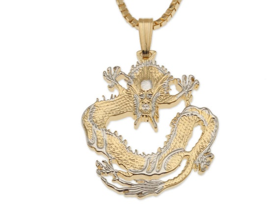 Chinese Dragon Coin Hand Cut 1 18  in Diameter, Dragon Pendant and Necklace Jewelry 14 Karat Gold and Rhodium Plated # 460