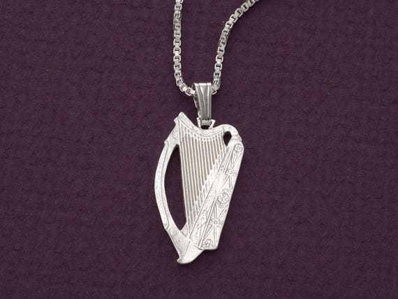7//8 inch tall Sterling Silver Harp Pendant