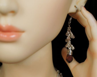 Garnet and Silver Earrings for Any Size Doll: Barbie, Enchanted Doll, Momoko, Fashion Royalty, MSD, SD