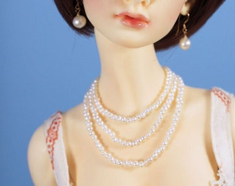 Freshwater Pearl Necklace with Three Strands for Fashion Royalty, Enchanted Doll, Momoko, MSD or SD dolls