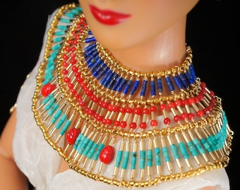 Egyptian Queen Necklace for Cleopatra themed Tonner, Ellowyne Wilde, Evangeline Ghastly, MSD bjd or 16 in fashion doll