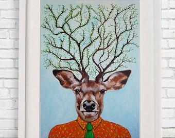 Wonderful Deer Print, Antler, Stag, Deer Art, Deer Art Print, Deer Artwork, Wall Decor, Wall Art, Deer Wall Hanging, Gift For Men, Deer Tree