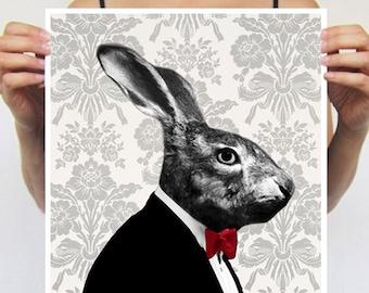 Rabbit Print, Rabbit Art Print, Rabbit Bunny Print, Rabbit Art, Bunny Print, Rabbit Wall Art, Black, Rabbit Artwork, Wall Art, Art Print