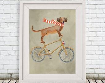 Dachshund Print, Dachshund Illustration Art Poster Acrylic Painting Kids Decor Drawing Gift, Dog on bicycle, bicycle print