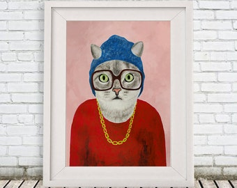 Cat Print, Cat painting portrait painting Giclee Print Acrylic Painting Illustration Print wall art wall decor Wall Hanging Rapper