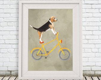 Beagle Print, Beagle Artwork, Beagle Art, Beagle Dog, Beagle Custom Pet Print, Beagle Lover, Beagle Gift, Beagle on bicycle