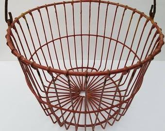 Vintage Red Wire Egg Basket