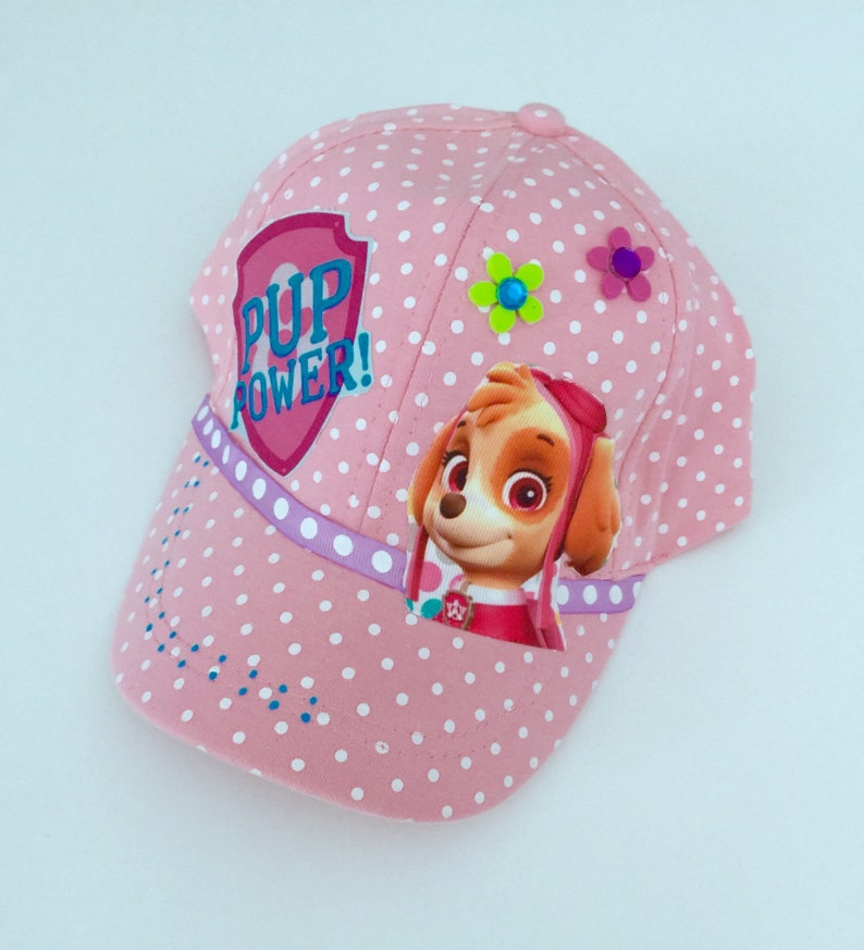 new style 4bb02 d900b Girls Paw Patrol inspired cap pokadot pink fits ages 3-8 yr   Etsy