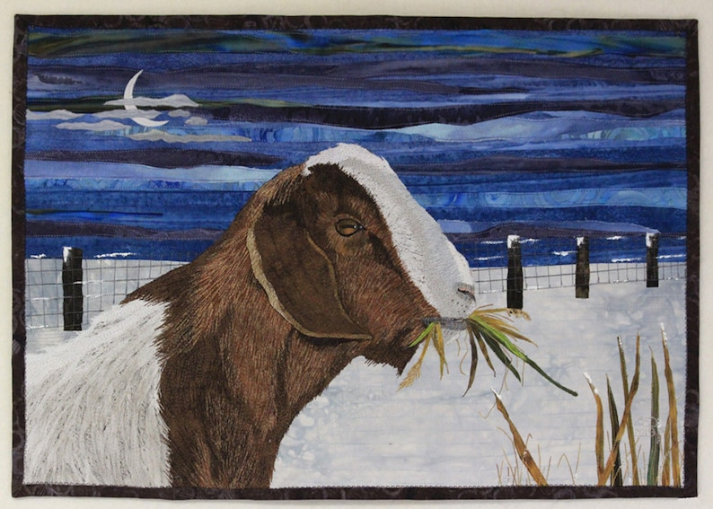 Hawkeye the goat art quilt wallhanging. image 0