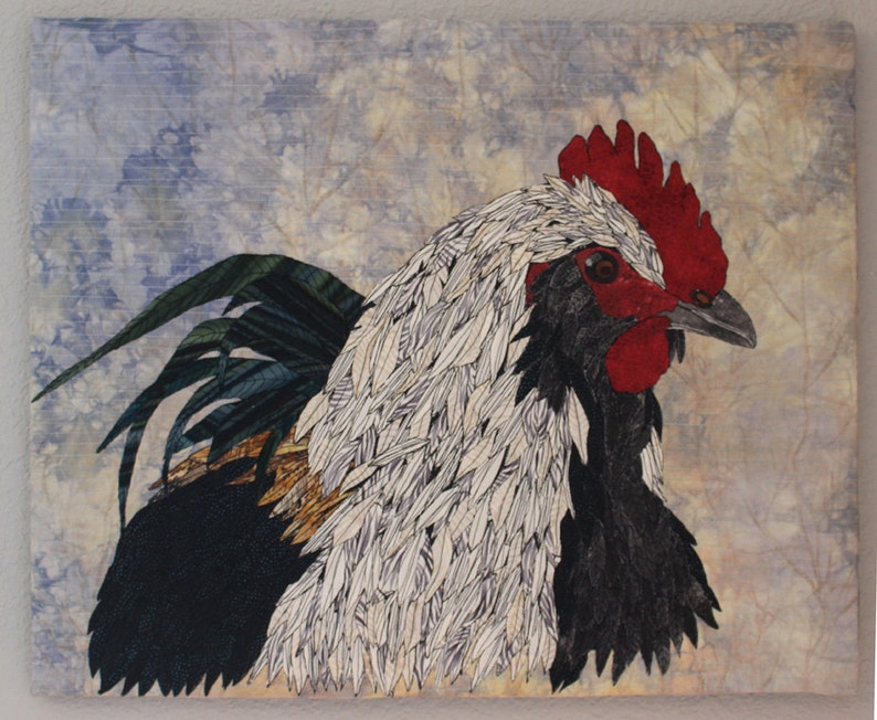 Portait Of A Rooster Art Quilt Wall Hanging Rooster Fiber image 0