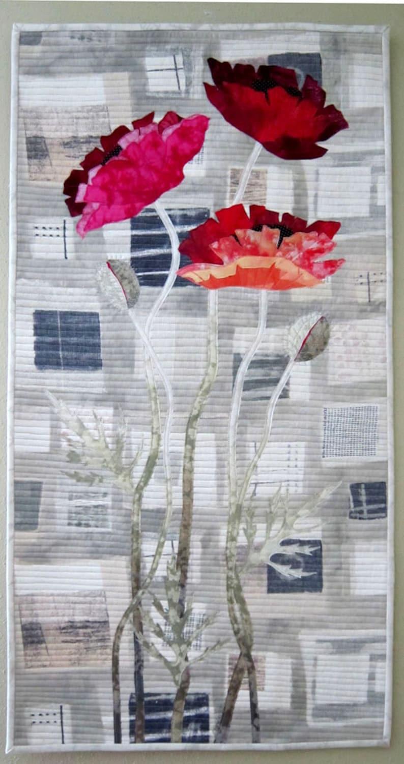 Urban Poppies  Art Quilt  Art  Quilt  Handmade  Original image 0