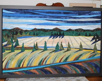 Gently, Down The Stream is  an art quilt, original art work, wallhanging.  countryside, Landscape, river. Art Quilt,