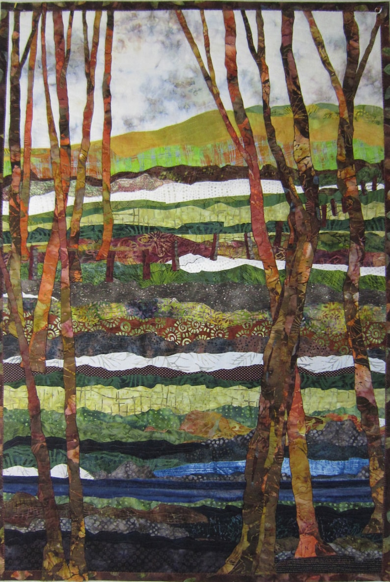 A Walk In The Woods   Art Quilt  Textile  Wall Hanging  image 0