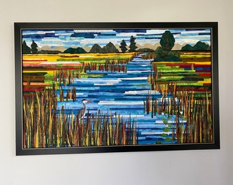 Art Quilt Marshland Home Framed Wallhanging
