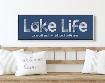 Lake House Sign | Lake Life Unsalted and Shark Free | Rusic Lake Wall Decor for Entry or Living Room