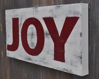 Christmas Sign, Christmas Wall Decor - Joy -  Typography Word Art  Custom Wood Sign Hand Painted Subway Style